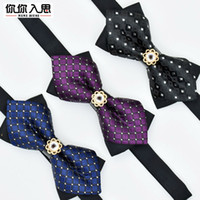 Wholesale metal corners resale online - 1Piece Bling Crystal Metal Decoration Sharp Corners Bow Tie Butterfly Knot Men s Accessories Wedding Party Banquet Club Business