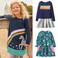 Wholesale baby penguin clothing for sale - Group buy Girls Autumn Dress Unicorn Striped Penguin Appliqued Christmas Dress Baby Girl Clothes Cotton Autumn Winter Kids Clothes T