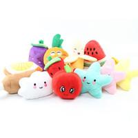 jouets en peluche de légumes achat en gros de-Peluche peluche grincer son fruits fruits légumes pastèque étoiles nourrir carotte banane