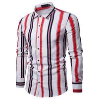 çift kollu gömlek tasarımı toptan satış-Gerçek Reveler 2019 Yeni stil Erkek Gömlek Moda bluz Çift Renk Şerit Vücut Tasarım Dinamik erkek Yaka Uzun Kollu Gömlek