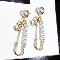 Wholesale earring pearl letter resale online - Woman Letter Chandelier Earring S925 Steriling Silver Stud Earrings Pearl Vintage Earrings for Party Mental Multistyle Pearl Dangles