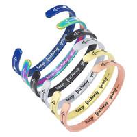 braceletes inspirados para homens venda por atacado-Keep Fucking Ir Pulseira De aço inoxidável Cuff Para mulheres Homens Personalizados Gravado Carta Seta Pulseira Aberta Amigo Inspirado JewelryKe