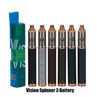 tanques de fibra al por mayor-Vision Spinner 3 III Batería Fibra de carbono 1650mAh Voltaje variable VV 3.3-4.8V Batería para 510 Ego CE4 E Cigarette Atomizer Tank