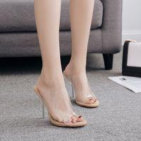 sandalias de plastico transparente al por mayor-Cristal de las mujeres Chunky Tacones altos Sandalias Forma lineal transparente Peep Toe superficie de plástico impermeable para el verano