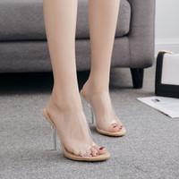 kristall-chunky high heels großhandel-Damen Crystal Chunky High Heels Sandalen lineare Form transparente obere Peep Toe wasserdichte Kunststoffoberfläche für heißen Sommer