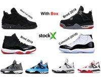 zapatos de baloncesto más cool al por mayor-2020 4S gato negro zapatillas de baloncesto 2019 criados 11s 11 hombres zapatillas de deporte 2018 Concord enfríen leyenda gamma cemento blanco gris con la caja