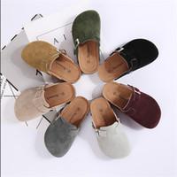 24 m ayakkabı toptan satış-Bahar Yaz Çocuklar Mantar Sandalet Toka ile Erkek Kız Antiskid PU Terlik Çocuk Ev Açık Plaj Rahat Roma Ayakkabı 10 Renkler C41301