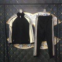 ingrosso giacche da uomo in cotone a molla-2019 Spring Designer Mens Tute Abbigliamento di lusso a righe Patchwork Tuta Lettera Zipper cotone Suit felpa giacca cappotto