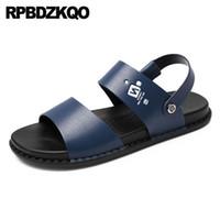 f8e85e91adbef Strap Flat Shoes Open Toe Slides Sneakers Blue Waterproof Designer Men  Sandals Leather Summer 2018 Brown Slippers Runway Slip On