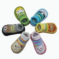 toalheiro venda por atacado-Sapatos de bebê Meias Roupas 5 Pares / lote Crianças Infantil Meias Dos Desenhos Animados Bebê Meias de Chão Interior Sola de Couro Não-Deslizamento Meia Toalha Grossa