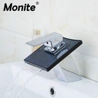 Wholesale vanity wash basins for sale - Group buy Waterfall Black Glass Chrome Brass Deck Mounted Single Handle Bathroom Wash Basin Sink Vessel Vanity Faucet Mixer Tap