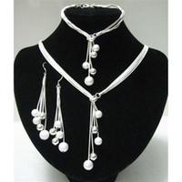 venta de cuentas africanas al por mayor-Señoras grandes ventas je925 Plata Swelry pulido aretes collar en forma de Y pulsera de perlas acabado chapado en plata de la joyería africana