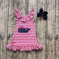 roupas para crianças venda por atacado-Novas roupas de verão vestido hot pink baleia sem mangas na altura do joelho vestido da listra do bebê menina crianças usam roupas boutique coincidir com arco