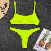micro thong amarela venda por atacado-Mulheres Swimwear 2019 Neon Amarelo Micro Bikini Sexy Thong Swimsuit Feminino cintura Baixa Biquíni conjunto Banhista Nervuras Maiô 3976