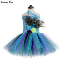 ingrosso vestiti da ragazza dei fiori di pavone-Princess Girls Peacock Tutu Dress Tulle Feathers Flower Girl Birthday Party Dress Bambini Bambini Costumi di Halloween Vestiti per ragazze