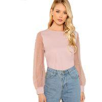 boncuklu v boyun bluzu toptan satış-Modern Pembe Lady Zarif Inci Boncuklu Yuvarlak Boyun Örgü Kollu Üst Kadın Sonbahar Katı Hafta Sonu Rahat Minimalist Bluzlar