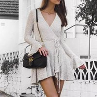 Wholesale mini picks resale online - Sexy V Neck Mini Short homecoming dresses A Line Poet Long Sleeve With String Belt Women Street Informal Holiday Gowns