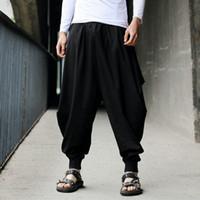 pantalones de lino estilo de los hombres al por mayor-Plus Size Cotton Linen Harem Pants Pantalones holgados para hombre Estilo japonés para hombre Entrepierna ancha Pierna suelta Casual Boho pantalones