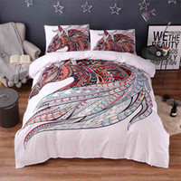 Wholesale horse king size bedding for sale - 3d Animal White Bedding Sets Horse Print Luxury Bed Cover Duvet Cover Comforter Queen King Twin Size Designer Bed Sheets