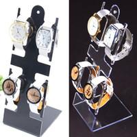relojes de pulsera de plástico al por mayor-L forma de reloj de pulsera de plástico del soporte de exhibición del estante del sostenedor de la joyería pulsera de reloj de visualización, alejado Negro escaparate GGA3052-1