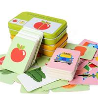 ingrosso imparare il bambino inglese-kids Montessori Educativos Divertimento Parola inglese Pocket Flash Card Baby Learning Gioco da tavolo inglese educativo Puzzle Giocattoli Bambini