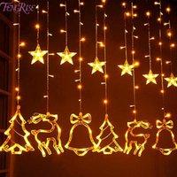 sinos de natal iluminados venda por atacado-Elk Sino String Luz LED Natal decoração para a casa Hanging Decor Árvore de Natal Garland ornamento 2019 Navidad Xmas presente do ano novo