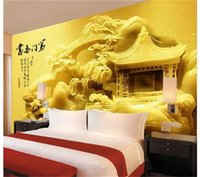 Wholesale custom buildings resale online - custom size d photo wallpaper bedroom d wall mural jade carving building Chinese picture sofa TV backdrop wallpaper non woven wall sticker