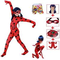 halloween kostümü böcek toptan satış-1 TAKıM / 5 ADET SıCAK SATıŞ Çocuk Disfraz Lady bug Suit Cosplay Kostüm Cadılar Bayramı Kız Böceği Tulumlar Peruk Cadılar Bayramı Çocuklar için