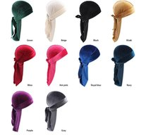 Wholesale wig skull cap for sale - Group buy Velvet Breathable Bandana Hat Turban Headband Caps Velvet Durags Bandana Turban Wigs Headwear Headband Hair Accessories KKA6578