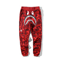 pantalon de camping d'hiver achat en gros de-19ss Mens designer pants A Bathing aape camo Shark mouth cotton ape trousers mens designer winter coats for man vetements