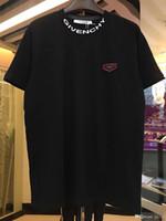 ince yaz tişörtleri toptan satış-2019 Yaz Yuvarlak Yaka Kısa Kollu T-shirt yeni moda yuvarlak boyun yumuşak ince erkek GIV gömlek yaz baskı high-end brandGIV Tees