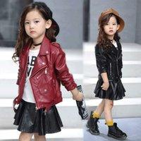 pu jacken für kinder großhandel-PU-Jacke der Kinder Mädchenmotorradjacke scherzen outwear Normallack Reißverschlussgurtlange Hülse beiläufige Frühlingsherbstart und weise