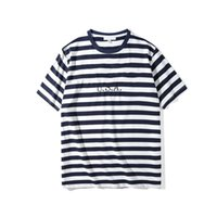 Wholesale clothing women usa online – oversize Jeans USA Womens Striped T shirt Fashion Embroidery Designer Tees Short Sleeved Tops Clothes Summer Casual Couple Tees