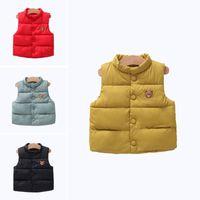 Wholesale girls cute down jackets resale online - YWHUANSEN Thick Warm Down Cotton Girl Vests Coat Cute Bear Children Vest Winter Clothes Boys Sleeveless Jackets For Boys Gilet