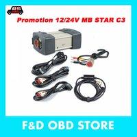 obd tanılama aleti kablosu toptan satış-MB Yıldız C3 Teşhis Aracı ile Çoklayıcılar ile tam kablolar RS232 ve OBD II 16 pin Kablo otomobiller Için DHL ücretsiz kargo