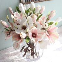 mode für zu hause künstliche blume groihandel-Mode künstliche gefälschte Blumen-Blatt-Magnolien-Blumenhochzeits-Blumenstrauß Europäische Partei Home Decor Craft Gefälschte Blume