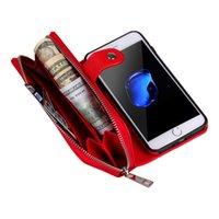 ingrosso borse di gel-Per iPhone 7 6 Plus Custodia in pelle rimovibile Portafoglio Borsa rimovibile Borsa Carta di vibrazione Copertura posteriore Telefono cellulare con cerniera Custodie in gel morbido iphone7