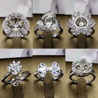 ingrosso grande insieme 925-Brillante! Big Pearl Ring 925 Silver DIY Pearl Rings Impostazione Zircone Anello per le donne Anello dei monili di modo per dimensione regolabile regalo di San Valentino