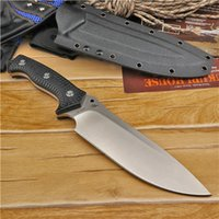 Wholesale Top Quality High End Strong Survival Straight Knife A2 Steel Drop Point Satin Blade Full Tang Black G10 Handle With Kydex