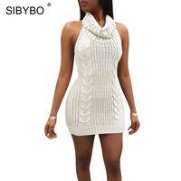 hohes halshalfter-kleid großhandel-YIBO High Neck Halfter Gestrickt Sexy Pullover Kleid Frauen Ärmelloses Mantel Mini, Figurbetontes Kleid Herbst Backless Beiläufige Frauen Kleid party