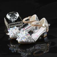 calçado de baile de salto baixo venda por atacado-2019 Princesa sapatos de cristal Ballroom Festa Latina Prom Tango dança moderna fechada ponta sapatos de ouro sapatos