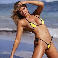 mulheres biquíni roupa de banho sexo venda por atacado-50 Pcs Sexy Sheer Bikini Triângulo Top e Brasileira Tanga Bottom Tie Up Swimsuit Mulheres Praia Sexo Swimwear Feminino Traje de Natação