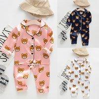 neue ankunftsbabyausstattung großhandel-Kleinkind Baby Kinder Kleidung Langarm Cartoon Bär Tops + Pants 2 STÜCKE Pyjamas Nachtwäsche Outfits 2019 Neue Ankunft Boutique Ropa Para