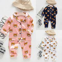 uzun kollu pijamalar yeni gelenler toptan satış-Toddler Bebek Çocuk Giysileri Uzun Kollu Karikatür Ayı Üstleri + Pantolon 2 ADET Pijama Pijama Kıyafetleri 2019 Yeni Varış Butik Ropa Para