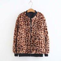 женская прямая куртка оптовых-Mooirue Autumn Winter Women Leopard Coat Straight V-neck Casual Fashion Vintage Loose Coat Female Zipper  Girl Outwear Jacket