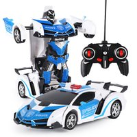modelo de coches de juguete al por mayor-Nuevo Rc Transformer 2 en 1 Rc Conducción de automóviles Coches deportivos Transformación de conducción Robots Modelos Control remoto Coche Rc Fighting Toy Gift
