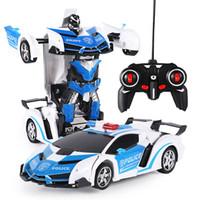 uzaktan kumandalı robot araba oyuncakları toptan satış-Yeni Rc Trafo 2 1 Rc Araba Sürüş Spor Arabalar Sürücü Dönüşüm Robotlar Modelleri Uzaktan Kumanda Araba Rc Mücadele Oyuncak hediye