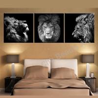 ingrosso graziosi dipinti d'arte-leone, 3 pezzi Stampe su tela Pittura a olio di arte della parete Home Decor (senza cornice / con cornice).