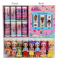 Wholesale barbie boxes resale online - 6inch Fashion Doll Toys Dress Barbie Doll Toys box Kids Christmas Blind Box Gifts Hair doll Toys Colors Mix
