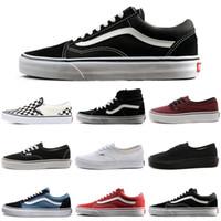 kadınlar için eski ayakkabılar toptan satış-VANS Old Skool Authentic sk8-hi Skool Tuval Rahat Ayakkabılar Üçlü Beyaz Siyah Kadın Erkek Moda Tasarımcısı Kaykay Spor Sneakers 36-44